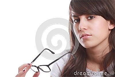 Chica joven con los vidrios