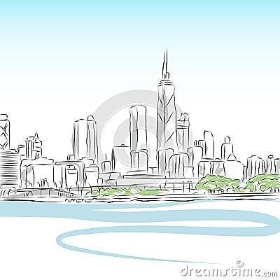 линия чертежа городского пейзажа chicago