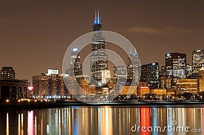 Chicago participates in Autism Speaks Light It Up  Editorial Photo