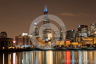 Chicago participates in Autism Speaks Light It Up Blue campaign Editorial Photo