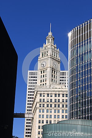 Chicago Wrigley Building and Skyscrapers Editorial Image