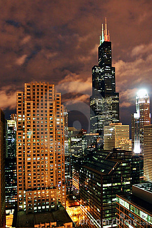 Free Chicago At Night Royalty Free Stock Image - 6535376