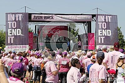 Chicago Avon Walk final ceremony speeches Editorial Photography