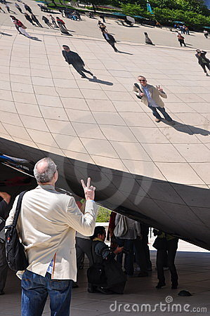 Chicago Bean and Tourists Editorial Stock Photo