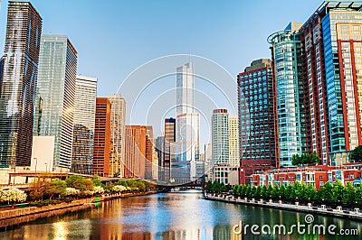 Chicago céntrica con el hotel internacional y la torre del triunfo en ji Fotografía editorial