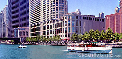 Chicago Canal Buildings Illinois USA