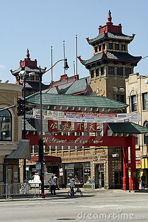 Chicago Chinatown Editorial Stock Image