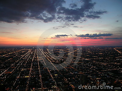 Chicago city lights and sunset