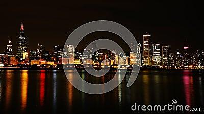 Chicago city night skyline