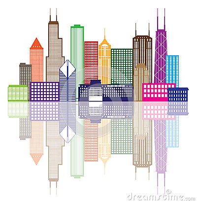 Free Chicago City Skyline Color Vector Illustration Stock Image - 44170361