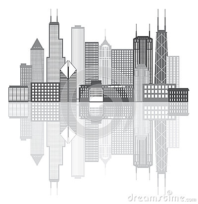 chicago skyline coloring page - chicago city skyline grayscale vector illustration stock