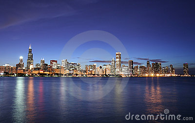 Chicago city skyline at night