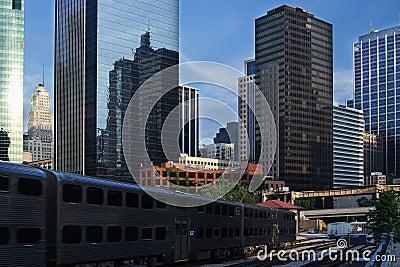 Chicago city view, including train tracks