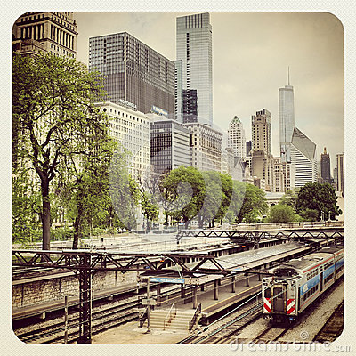 Chicago CTA bus and train Editorial Image
