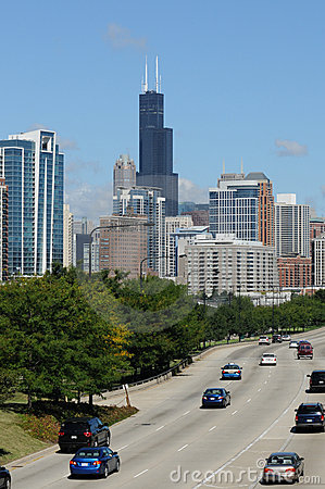 Chicago Downtown and its Highway