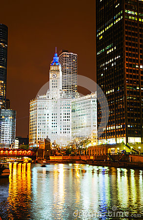 Chicago downtown with the Wrigley building Editorial Photography