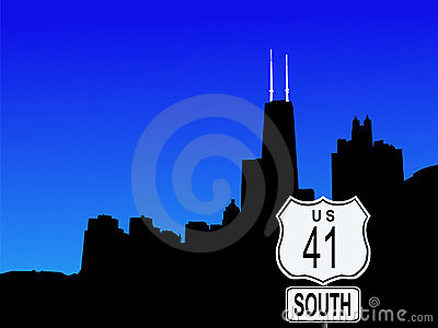Chicago with highway 41 sign