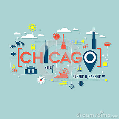 Free Chicago Icons And Typography Design Stock Image - 70968701