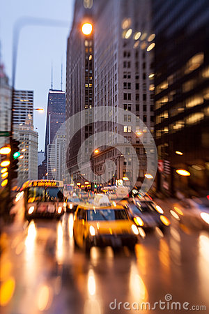 Chicago, Illinois rush hour in the rain