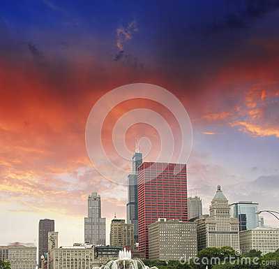 Chicago, Illinois. Wonderful sky colors over city skyscrapers