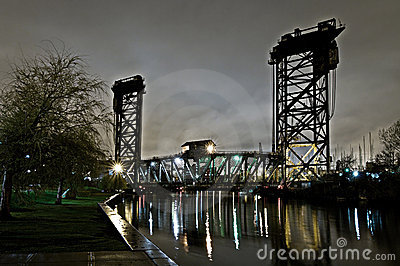 Chicago Industrial Bridge at Night