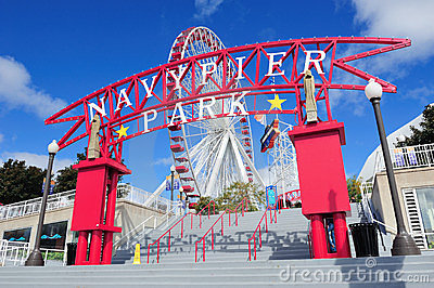 Chicago Navy Pier Editorial Stock Photo
