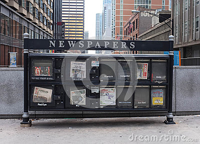 Chicago news paper stand Editorial Image