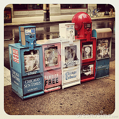 Chicago news paper stand Editorial Stock Photo