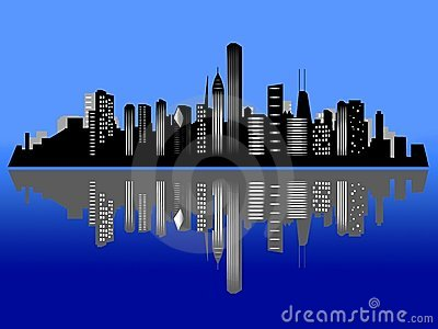 Chicago night city skyline