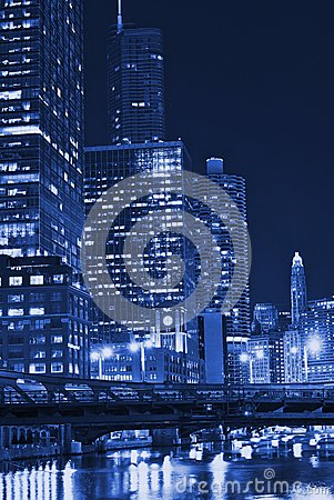Free Chicago Night In Blue Royalty Free Stock Images - 25955159