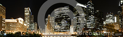 Chicago panoramic skyline at night Editorial Photography