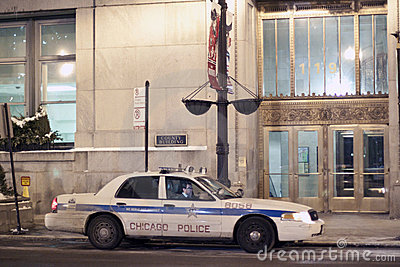 Chicago Police Car in Downtown Chicago at Night Editorial Image