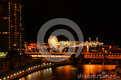 Chicago river and navy pier Editorial Stock Photo