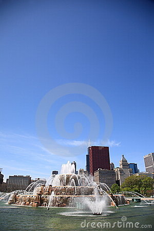 Chicago Skyline and Buckingham Fountain Editorial Photography