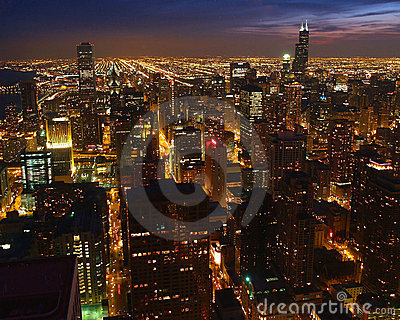 Chicago skyline at down