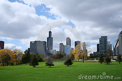Chicago skyline Grant park
