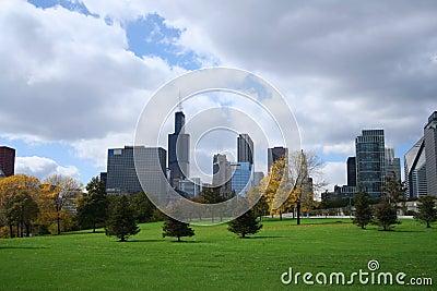 Chicago skyline Grant park
