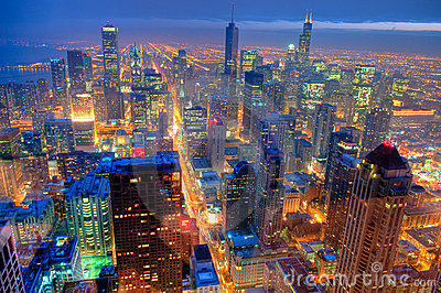 Chicago Skyline at Night.
