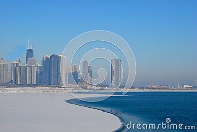 Chicago Skyline  in the winter