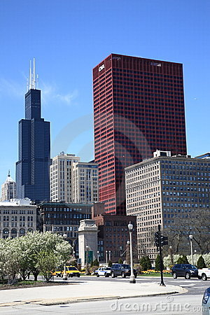 Chicago Street Corner and Skyline Editorial Stock Image