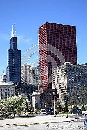 Chicago Street Corner and Skyline Editorial Stock Image