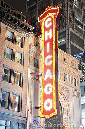Chicago Theatre night view Editorial Image