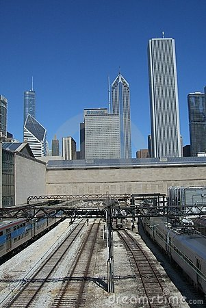 Chicago Trains and Skyscrapers Editorial Photography