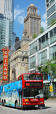 Chicago travel red bus Editorial Photo