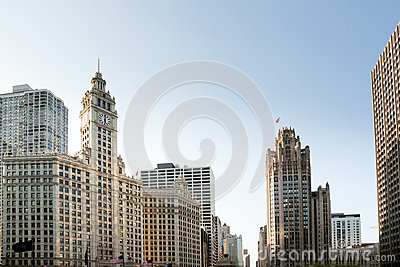 Chicago Tribune Tower and Wrigley building Editorial Photography
