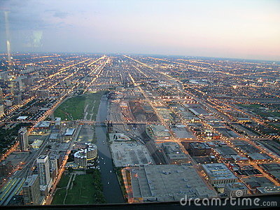 Chicago Twilight, Aerial view