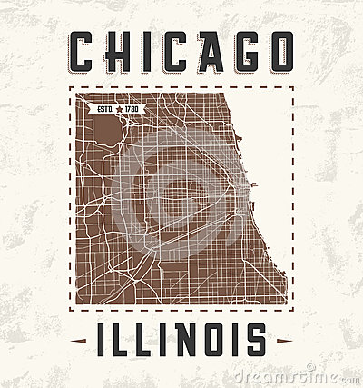 Free Chicago Vintage T-shirt Graphic Design With City Map. Royalty Free Stock Image - 78786776