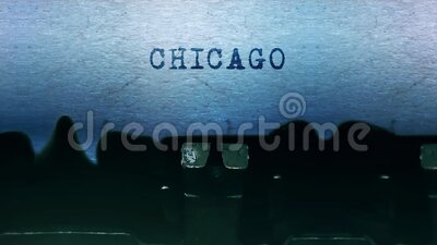 CHICAGO words Typing on a sheet of paper with old vintage typewriter. stock video