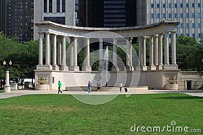 Chicago Wrigley Square in Millenium Park Editorial Stock Image