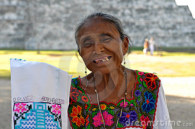 Chichen Itza Mayan Woman in Mexico Editorial Photography